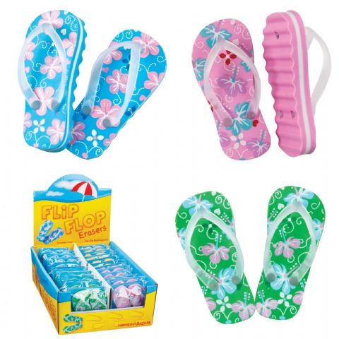 Flipflop Erasers - Novelty Rubbers Assorted Colours - 1 Pair Supplied